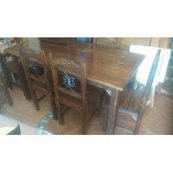 Comedor con madera y hierro 6 sillas