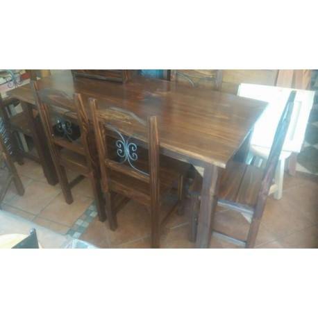 Comedor con madera y hierro 6 sillas la casa de madera for Comedor de madera 6 sillas
