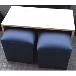 Mesa + 2 puff de eco cuero 80 x 40 x 50 cm