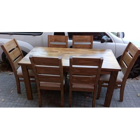 Juego de comedor rectangular con 6 sillas