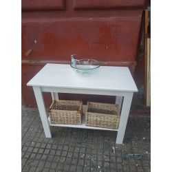 Mueble de baño 100 x 50 x 80 con laca blanca sin pileta y sin cajones